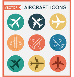 Aircraft or airplane flat minimal icons set vector