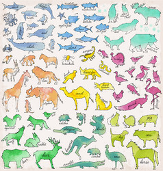 Abstract line and dot animals vector