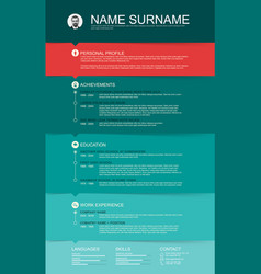 Minimalist cv resume template with color stripes vector
