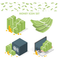 set of money icons vector image