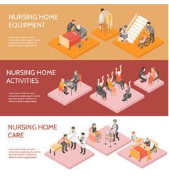 Nursing home isometric horizontal banners vector
