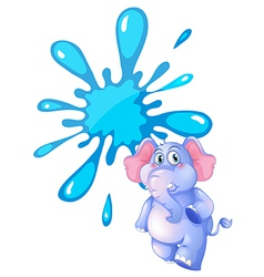 A gray elephant and an empty blue template vector image