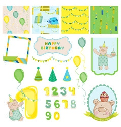 Design elements - birthday baby bear vector