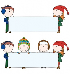 Winter kids with blank banners vector