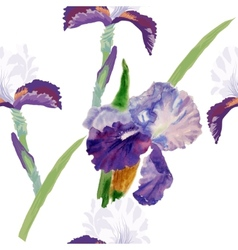 Seamless pattern with watercolor irises-01 vector