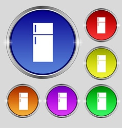 Refrigerator icon sign round symbol on bright vector