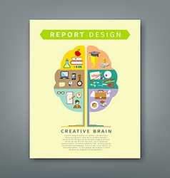 Annual report brain concepts colorful tree shape vector