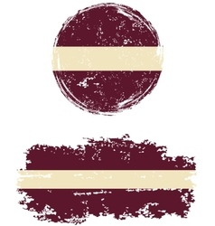 Latvian round and square grunge flags vector
