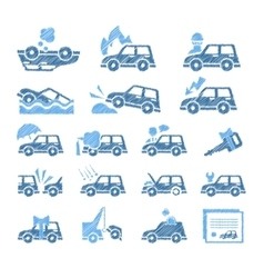 Car insurance icons set in vector