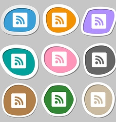 Rss feed icon symbols multicolored paper stickers vector