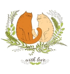 Cats and love vector