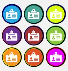 Identification card icon sign nine multi colored vector