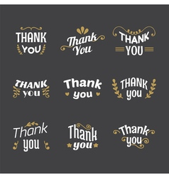 Set of thank you labels emblems stickers badges vector