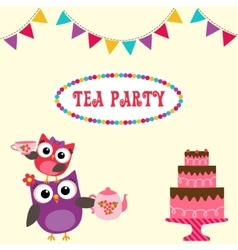 Tea party invitation with cute owls vector