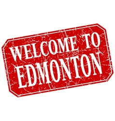 Welcome to edmonton red square grunge stamp vector