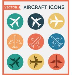 Aircraft or airplane flat minimal icons set vector