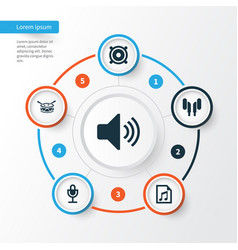 Audio icons set collection of sound mike file vector