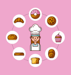 Baker girl character with bread cake cupcake donut vector