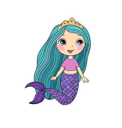 beautiful little mermaid siren sea theme vector image vector image