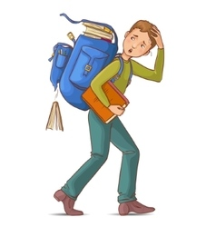 Boy carries heavy school rucksack full of books vector image