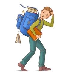 Boy carries heavy school rucksack full of books vector