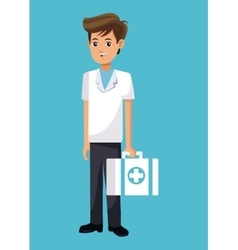 Cartoon young doctor with first aid kit vector