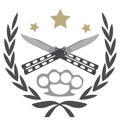 Crossed knifes and brass knuckle emblem vector
