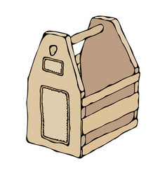 Decorative light wooden box with holes and handle vector