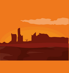 desert and sunset vector image