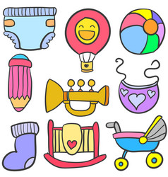 doodle of toy set baby collection vector image vector image