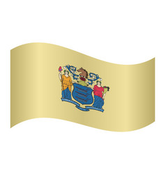 flag of new jersey waving on white background vector image