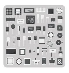 Flat icons electronic circuit board set vector