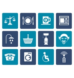 Flat roadside hotel and motel services icons vector