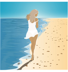 Girl in a dress walking on the beach vector