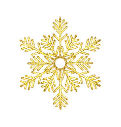 Golden christmas snowflake isolated on white vector