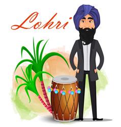 Happy lohri greeting card vector