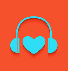 Headphones with heart whitish icon on vector
