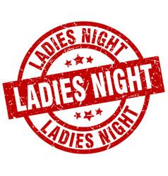Ladies night round red grunge stamp vector