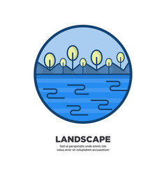 landscape scenery design with blue sea and trees vector image