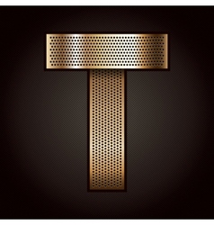 Letter metal gold ribbon - t vector