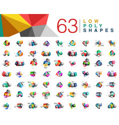 Mega collection of 63 triangle low poly design vector