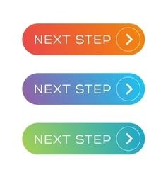 Next step colorful button set vector