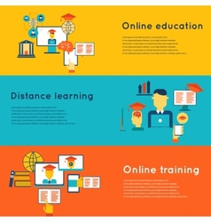 Online education banners set vector