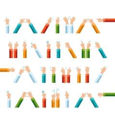 Outline hand finger gesture icon set vector image