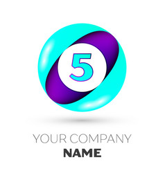 Realistic number five in colorful circle vector