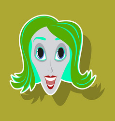 Realistic paper sticker on theme humor clown woman vector