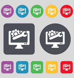 Repair computer icon sign a set of 12 colored vector