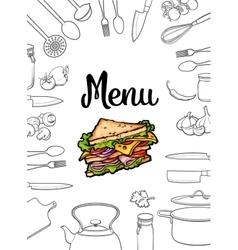Sandwich kitchenware and cutlery menu design vector