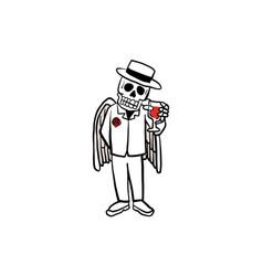 Skull holding glass of wine vector