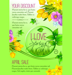 Spring poster of flowers for shopping sale vector